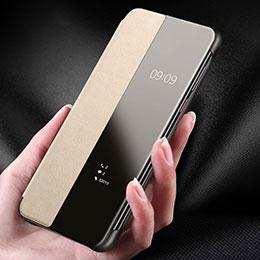 Huawei P30用ケース 高級感 手触り良いレザー柄 ファーウェイ ゴールド