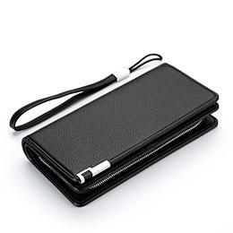 lichee パターンハンドバッグ ポーチ 財布型ケース レザー ユニバーサル H37 ブラック