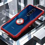OnePlus 7 Pro用360度 フルカバーハイブリットバンパーケース クリア透明 プラスチック 鏡面 アンド指輪 マグネット式 OnePlus レッド