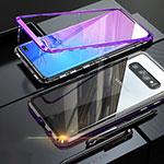 Samsung Galaxy S10用ケース 高級感 手触り良い アルミメタル 製の金属製 バンパー 鏡面 カバー サムスン パープル