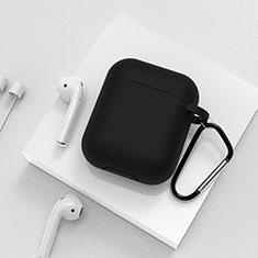 シリコン ケース 保護 収納 ズ用 Airpods 充電ボックス C02 アップル ブラック