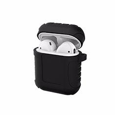 シリコン ケース 紛失防止 ズ用 Airpods 充電ボックス C06 アップル ブラック