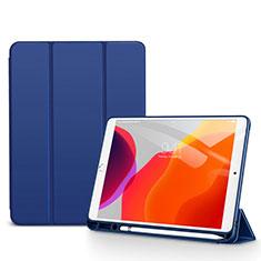 Apple iPad 10.2 (2020)用手帳型 レザーケース スタンド カバー アップル ネイビー