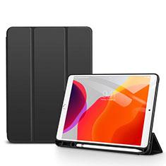 Apple iPad 10.2 (2020)用手帳型 レザーケース スタンド カバー アップル ブラック