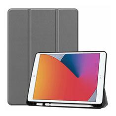 Apple iPad 10.2 (2020)用手帳型 レザーケース スタンド カバー L01 アップル グレー