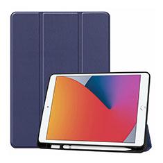 Apple iPad 10.2 (2020)用手帳型 レザーケース スタンド カバー L01 アップル ネイビー
