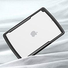 Apple iPad 10.2 (2020)用ハイブリットバンパーケース クリア透明 プラスチック 鏡面 カバー アップル ブラック