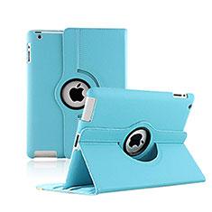 Apple iPad 2用回転式 スタンド レザーケース アップル ブルー