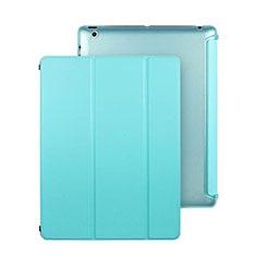 Apple iPad 2用手帳型 レザーケース スタンド アップル ブルー