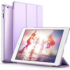 Apple iPad 2用手帳型 レザーケース スタンド L01 アップル パープル