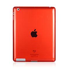 Apple iPad 3用極薄ソフトケース シリコンケース 耐衝撃 全面保護 クリア透明 アップル レッド