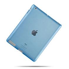 Apple iPad 3用極薄ソフトケース シリコンケース 耐衝撃 全面保護 クリア透明 アップル ブルー