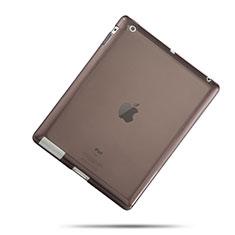 Apple iPad 3用極薄ソフトケース シリコンケース 耐衝撃 全面保護 クリア透明 アップル グレー