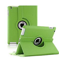 Apple iPad 3用回転式 スタンド レザーケース アップル グリーン
