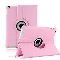Apple iPad 3用回転式 スタンド レザーケース アップル ピンク