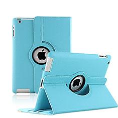 Apple iPad 3用回転式 スタンド レザーケース アップル ブルー