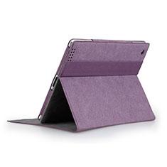 Apple iPad 3用手帳型 レザーケース スタンド アップル パープル