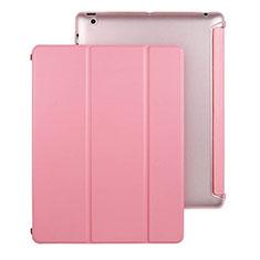 Apple iPad 3用手帳型 レザーケース スタンド アップル ピンク