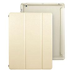 Apple iPad 3用手帳型 レザーケース スタンド アップル ゴールド