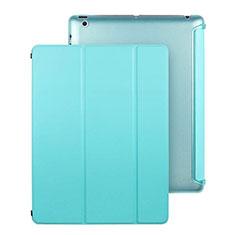 Apple iPad 3用手帳型 レザーケース スタンド アップル ブルー