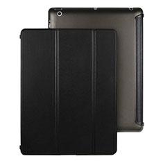 Apple iPad 3用手帳型 レザーケース スタンド アップル ブラック