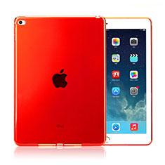 Apple iPad Air 2用極薄ソフトケース シリコンケース 耐衝撃 全面保護 クリア透明 アップル レッド