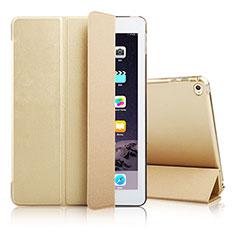 Apple iPad Air 2用手帳型 レザーケース スタンド アップル ゴールド