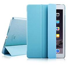 Apple iPad Air 2用手帳型 レザーケース スタンド アップル ブルー