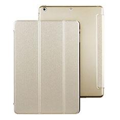 Apple iPad Air用手帳型 レザーケース スタンド アップル ゴールド
