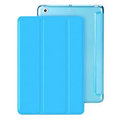 Apple iPad Mini 3用手帳型 レザーケース スタンド アップル ブルー