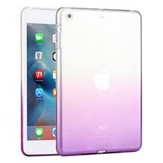 Apple iPad Mini 3用極薄ソフトケース グラデーション 勾配色 クリア透明 アップル パープル