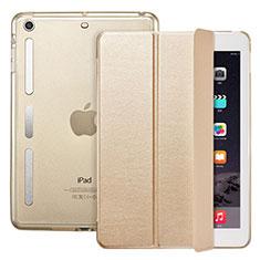 Apple iPad Mini 3用手帳型 レザーケース スタンド L05 アップル ゴールド