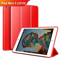 Apple iPad Mini 5 (2019)用手帳型 レザーケース スタンド カバー アップル レッド