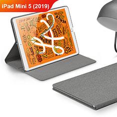 Apple iPad Mini 5 (2019)用手帳型 布 スタンド アップル グレー
