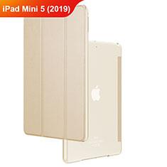 Apple iPad Mini 5 (2019)用手帳型 レザーケース スタンド アップル ゴールド
