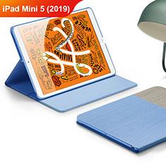 Apple iPad Mini 5 (2019)用手帳型 レザーケース スタンド L02 アップル ブルー