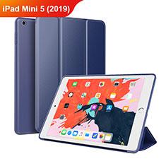 Apple iPad Mini 5 (2019)用手帳型 レザーケース スタンド L03 アップル ネイビー