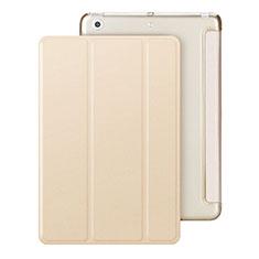 Apple iPad Mini用手帳型 レザーケース スタンド アップル ゴールド
