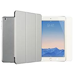 Apple iPad Mini用手帳型 レザーケース スタンド 液晶保護フィルム アップル シルバー