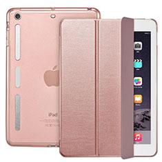 Apple iPad Mini用手帳型 レザーケース スタンド L05 アップル ローズゴールド