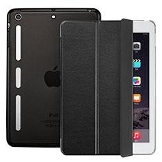 Apple iPad Mini用手帳型 レザーケース スタンド L05 アップル ブラック