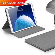 Apple iPad New Air (2019) 10.5用手帳型 布 スタンド アップル グレー