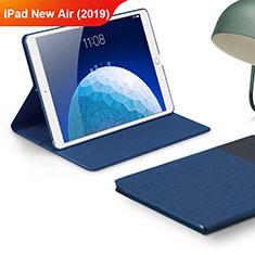 Apple iPad New Air (2019) 10.5用手帳型 布 スタンド アップル ネイビー
