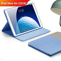 Apple iPad New Air (2019) 10.5用手帳型 布 スタンド アップル ブルー