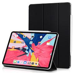 Apple iPad Pro 11 (2018)用手帳型 レザーケース スタンド アップル ブラック