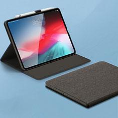 Apple iPad Pro 11 (2018)用手帳型 レザーケース スタンド カバー L01 アップル グレー
