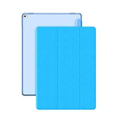 Apple iPad Pro 12.9用手帳型 レザーケース スタンド アップル ブルー