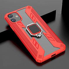 Apple iPhone 11用ハイブリットバンパーケース スタンド プラスチック 兼シリコーン カバー マグネット式 アップル レッド
