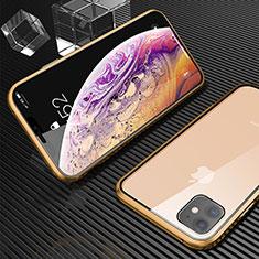Apple iPhone 11用ケース 高級感 手触り良い アルミメタル 製の金属製 360度 フルカバーバンパー 鏡面 カバー M02 アップル ゴールド