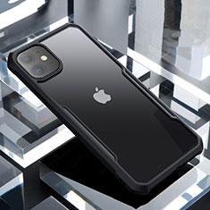 Apple iPhone 11用ハイブリットバンパーケース クリア透明 プラスチック 鏡面 カバー アップル ブラック